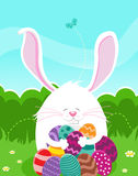 Bunny Hunting Easter Eggs Stock Images