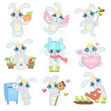 Bunny Illustrations Set adorable Image libre de droits