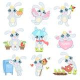 Bunny Illustrations Set adorável Imagem de Stock Royalty Free