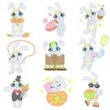 Bunny Illustrations Set bonito Imagem de Stock
