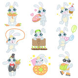 Bunny Illustrations Set lindo Imagen de archivo