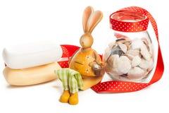 Bunny with jar of clams Stock Photos