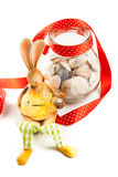Bunny with jar of clams Stock Images