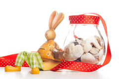 Bunny with jar of clams Royalty Free Stock Images