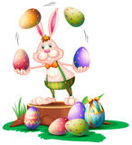A bunny juggling the easter eggs Royalty Free Stock Image
