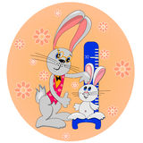 Bunny kid with father cartoon card Stock Image