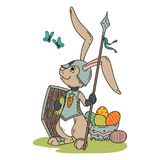 Bunny knight with a lance and shield. royalty free illustration