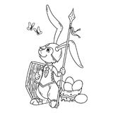 Bunny knight with a lance and shield. Vector illustration isolated on white background. Page for coloring book, greeting card, print. Hand-drawn vector Stock Images