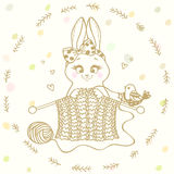 Bunny knitting needles Stock Image