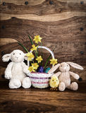 Bunny, Lamb and chick with Easter Basket - Rustic Royalty Free Stock Photography