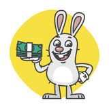 Bunny laughing and holding cash. Vector Illustration. Mascot Character Royalty Free Stock Image