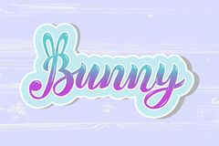Bunny lettering isolated on textured background. Bunny isolated on textured background. Hand drawn lettering Bunny as logo, patch, sticker, badge, icon, t-shirt Stock Photo