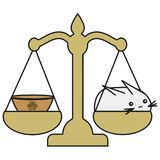 Bunny Libra zodiac sign in cartoon style vector illustration