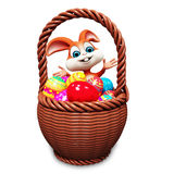 Bunny with lots of eggs in basket Stock Photography