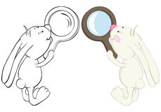 Bunny and loupe Stock Photos