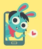Bunny Lover Girl Showing mignon sur l'écran de téléphone Photo libre de droits