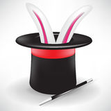 Bunny in magic hat and wand Royalty Free Stock Images