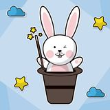 Bunny magician hat fantasy image. Vector illustration Royalty Free Stock Photo