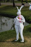 Bunny model in the garden. Rabbit man made from iron wire cover with white fabric in Rama 9 garden of Thailand Royalty Free Stock Image