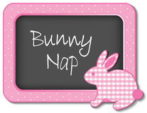 Bunny Nap Nursery Frame. Baby bunny rabbit nap time nursery bulletin board, Bunny Nap, pastel pink gingham, polka dots for scrapbooks, albums, baby books. EPS8 Stock Images