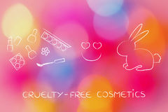Bunny next to make-up with heart icon, cruelty-free cosmetics Stock Photos