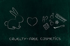 Bunny next to make-up with heart icon, cruelty-free cosmetics Royalty Free Stock Image