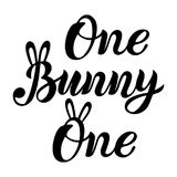 Bunny, One handwritten lettering. As patch, stick cake topper, laser cut plastic, wooden toppers. Props for First Year Baby Anniversary, Birthday party Stock Image