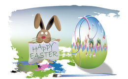 Bunny painting easter eggs Happy Easter Royalty Free Stock Image