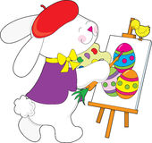 Bunny Painting Egg Stock Photo