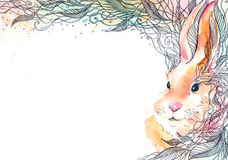 Bunny. Painting of rabbit hiding in leaves Royalty Free Stock Images