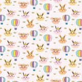 Bunny Pattern Background For公主孩子 库存例证