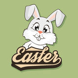 Bunny peeks out from behind the word Easter. Cute Bunny on a green background and lettering Easter. Vector illustration Royalty Free Stock Images