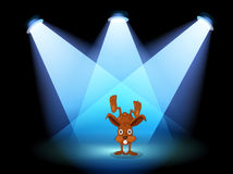 A bunny performing on a stage under the spotlights Royalty Free Stock Photo
