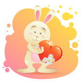 Bunny pet isolated holding heart Stock Photo