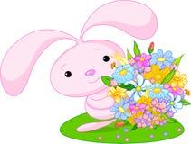 Bunny_pink. Cute little bunny-girl giving a bouquet Stock Photos