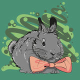 Bunny with a pink bow. Hand drawn rabbit with a pink bow Royalty Free Stock Photo