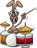 Bunny playing drums cartoon illustration Stock Photos