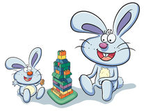 Bunny Playing Puzzle Royalty Free Stock Images