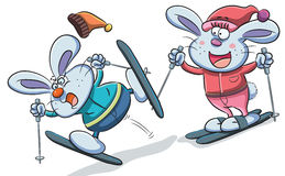 Bunny Playing Skiing Arkivbild