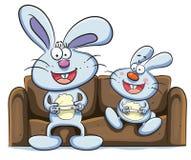 Bunny Playing Video Games. Cartoon illustration of bunny playing video games Stock Image
