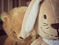 Bunny with sad teddy bear Stock Images
