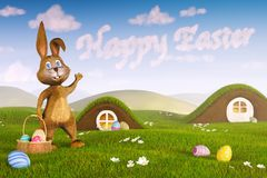 Bunny pointing at clouds forming the words `Happy Easter` stock photo