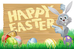 Bunny pointing at Happy Easter message Royalty Free Stock Photography