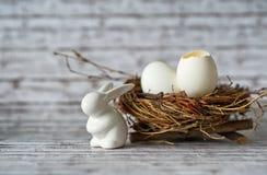Bunny Porcelain Besides Eggs bianco in un nido Fotografia Stock Libera da Diritti