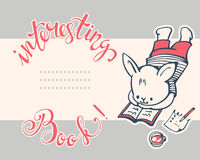 Bunny. Postcard with a white Bunny and hand lettering Interesting book! Vector illustration vector illustration