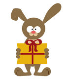 Bunny with present Royalty Free Stock Images