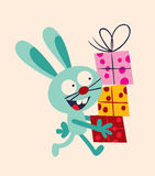 Bunny with presents Royalty Free Stock Images