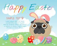 Bunny pug with colorful easter eggs on grass, Happy Easter, Happy Easter banners with easter eggs, pug rabbit and Easter eggs. Vector illustration Royalty Free Stock Image