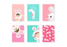 Bunny, rabbit cartoon, greeting, cover, template, card, cute celebration Easter holiday, background A4 layout flat design vector royalty free illustration