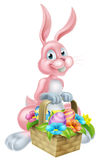 Bunny Rabbit with Easter Basket Stock Image